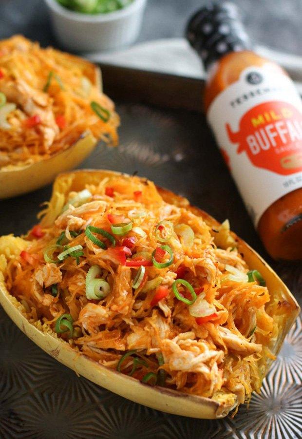High Protein Low Carb Recipes: Buffalo Chicken Stuffed Spaghetti Squash