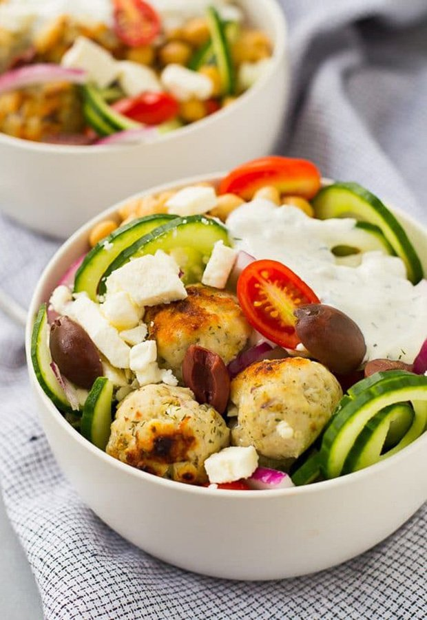 High Protein Low Carb Recipes: Greek Cucumber Noodle Bowl with Meatballs