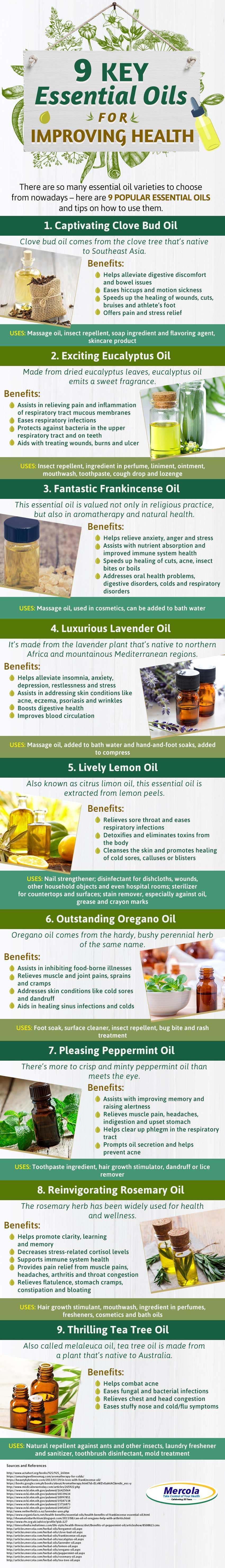 9 Key Essential Oils For Everyday Use Infographic