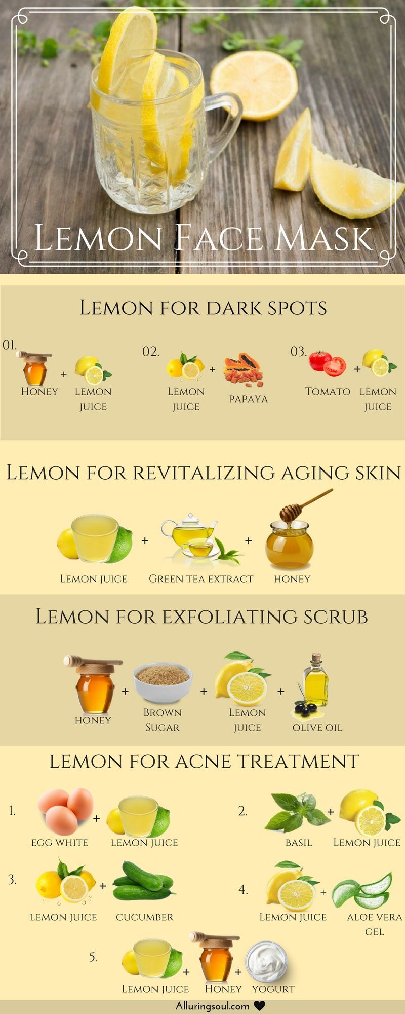 Lemon Face Mask Recipes You Need To Take Note Of Infographic