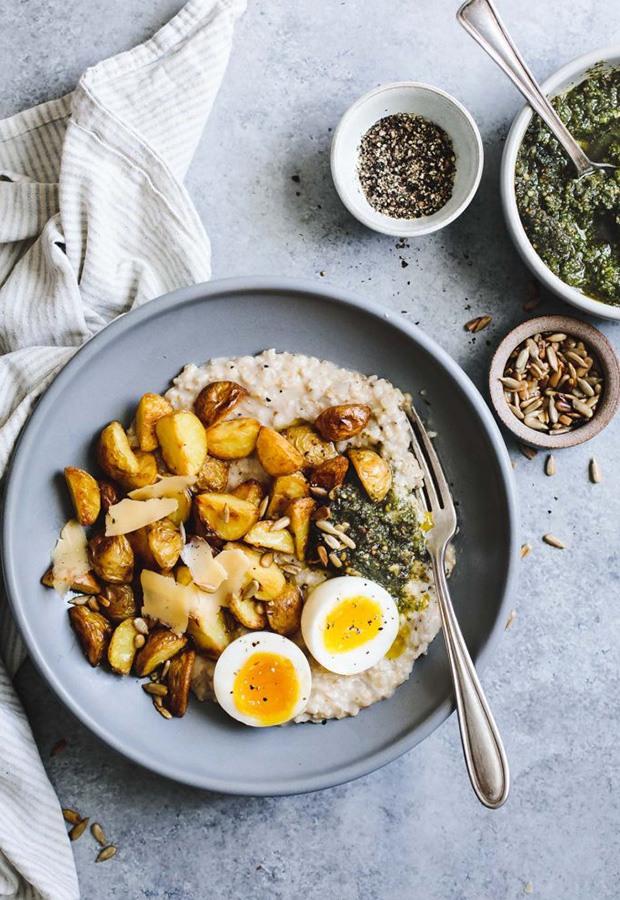 Savory Oatmeal Recipes: Cheesy Oatmeal with Crispy Potatoes and Pesto Recipe