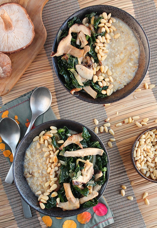 Savory Oatmeal Recipes: Oatmeal with Garlicky Kale, Mushrooms and Pine Nuts Recipe