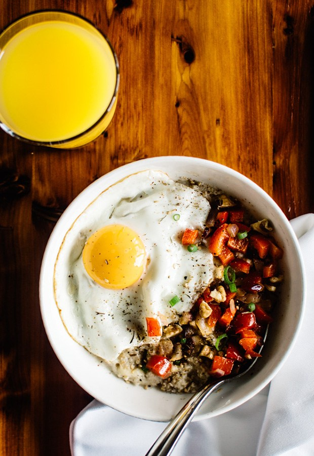 Savory Oatmeal Recipes: Savory Oatmeal with Cheddar and a Fried Egg Recipe