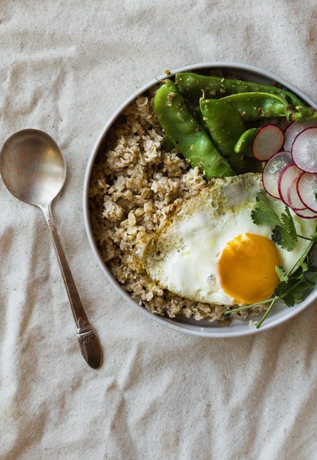 Savory Oatmeal Recipes: Savory Oatmeal with Miso Butter and Snowpeas Recipe