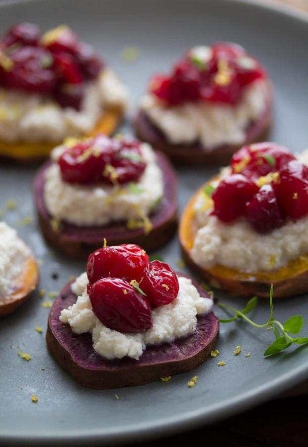Healthy Finger Foods: Purple Sweet Potato Crostini with Ricotta and Roasted Cranberry